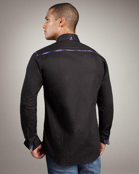 Leather-Cuff Poplin Shirt