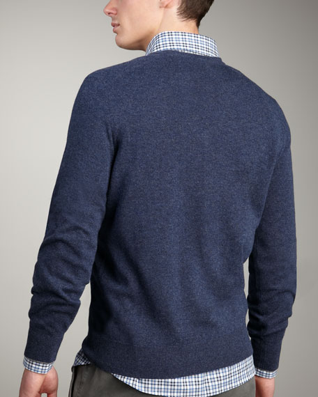 V-Neck Cashmere Sweater, Indigo