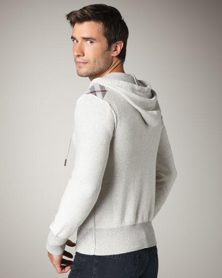 Check-Shoulder Zip Hoodie, Pale Gray Melange