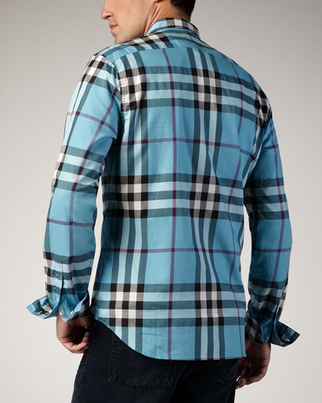 Check Button-Down Sport Shirt, Kingfisher