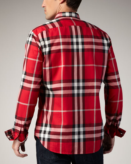 Check Button-Down Sport Shirt, Military Red