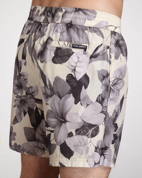 Gray Floral Print Swim Trunk
