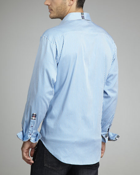 X Collection Twofer Striped Shirt, Turquoise