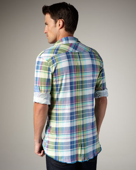 Plaid Sport-Shirt, Blue/Green