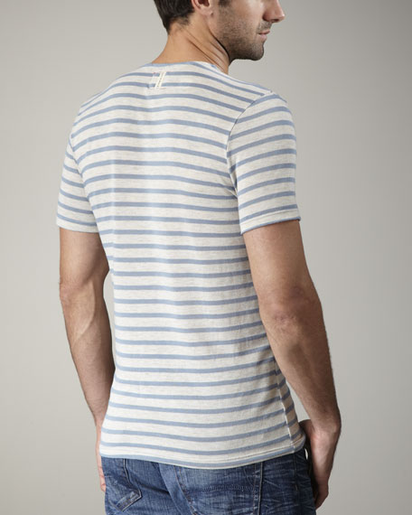 Striped Pocket Tee, Gray