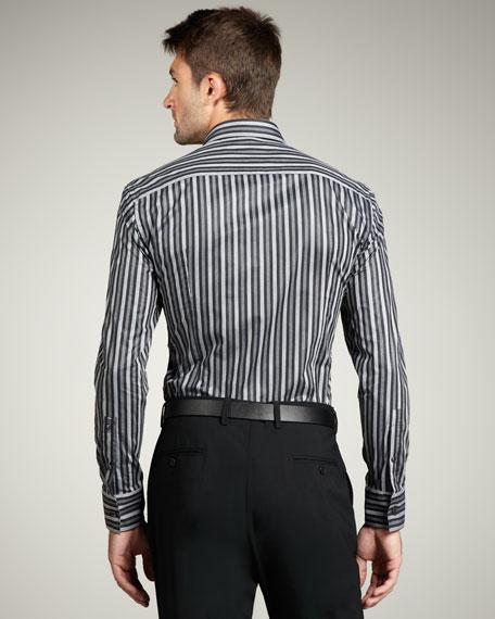 Striped Trend-Fit Sport Shirt, Black