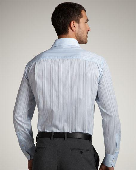 City Fit Striped Shirt, Light Blue
