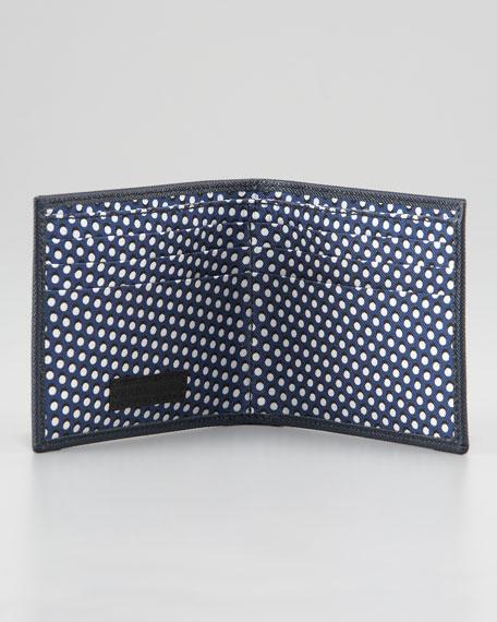 Saffiano Bifold Wallet, Blue