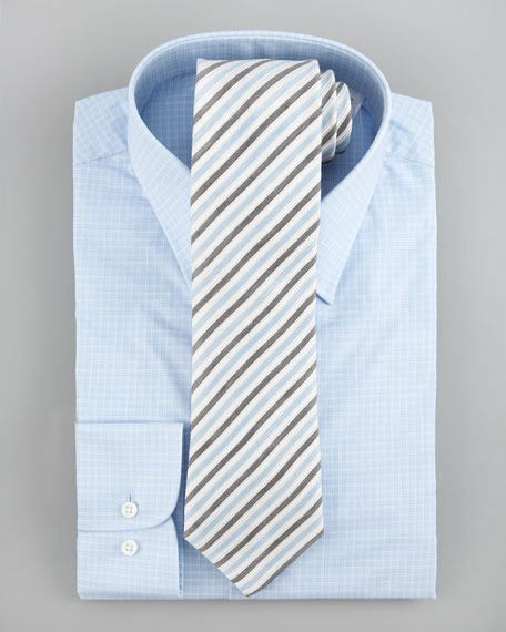 Check Cotton-Flax Dress Shirt, Light Blue, Modern Fit