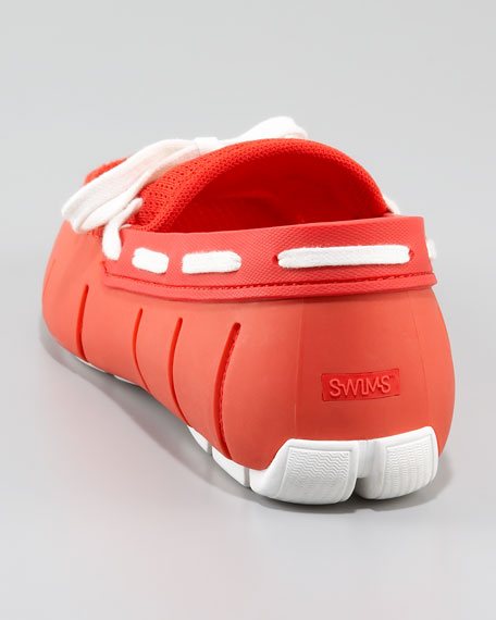 Lace-Up Rubber Loafer, Red/White