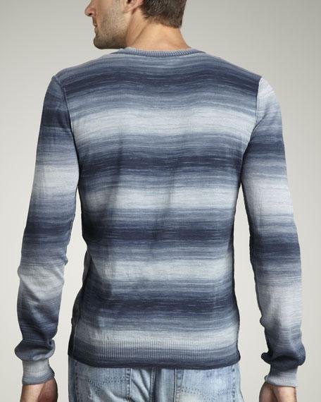 Stripe-Print V-Neck Sweater
