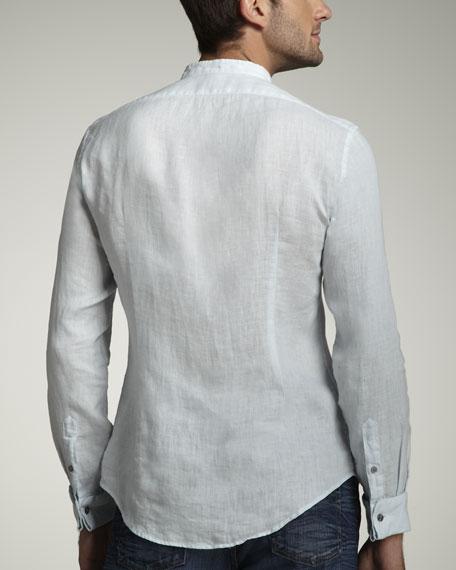 Linen Tuxedo Shirt, Sky Blue