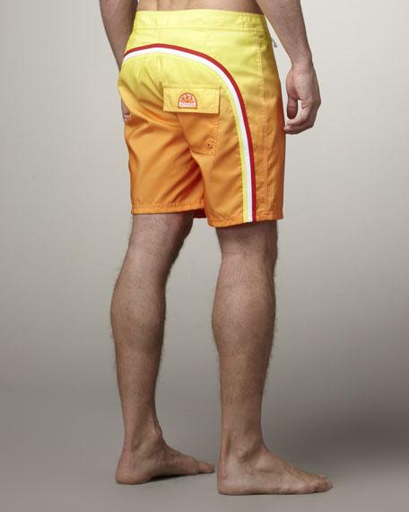 Rainbow Degrade Swim Trunks, Yellow/Orange
