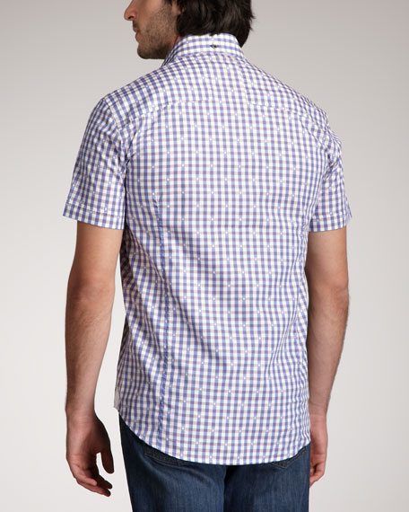 Short-Sleeve Check-Jacquard Shirt
