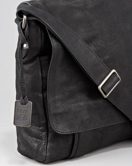 Logan Leather Messenger Bag, Black