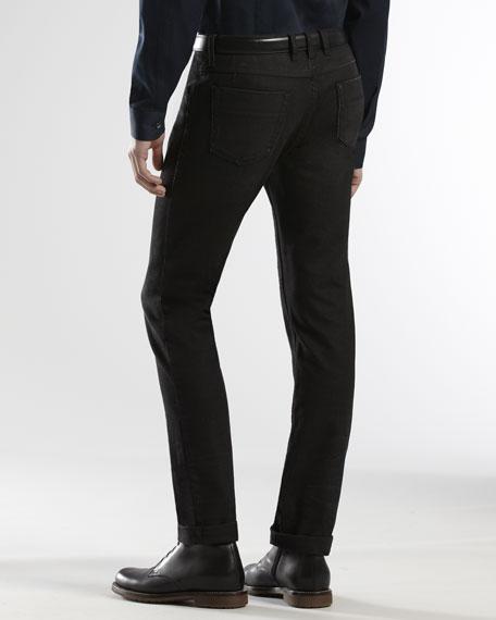 Horsebit & Web Detail Skinny Jeans