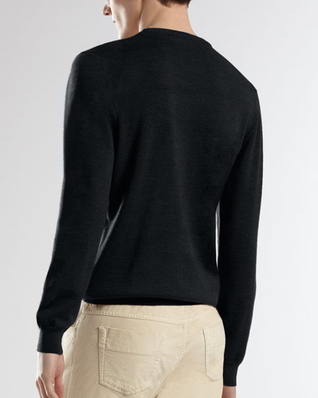 Embroidered-Crest Classic Sweater