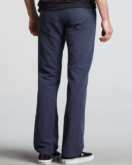 Standard Cotton-Linen Pants, Blue
