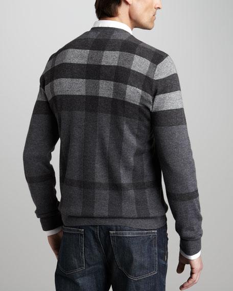 Check V-Neck Sweater