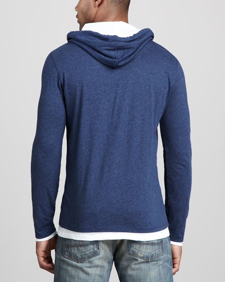 Double-Layer Hoodie, Heather Blue