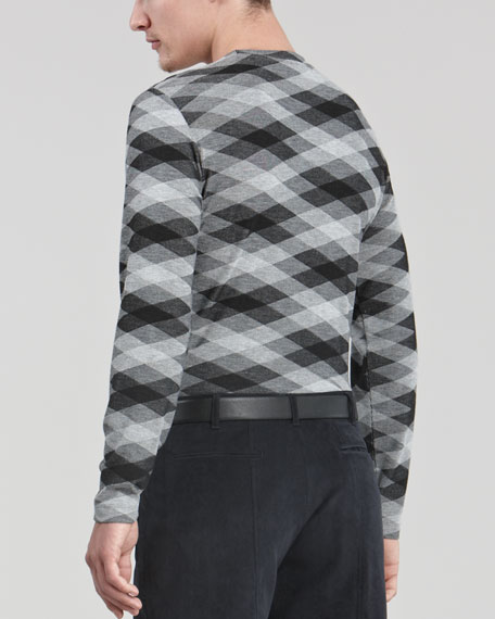 Geometric Print Crewneck Sweater