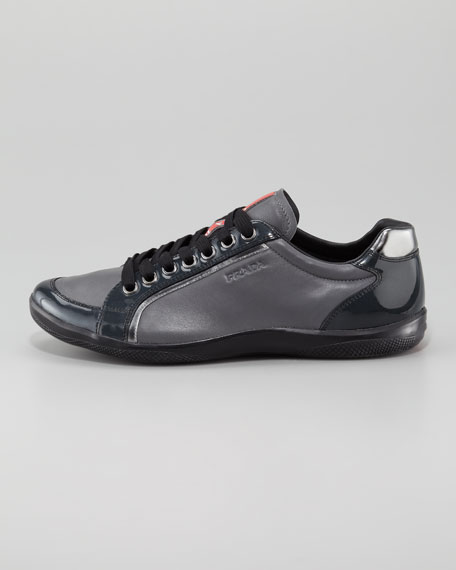 Patent & Leather Lace-Up Sneaker