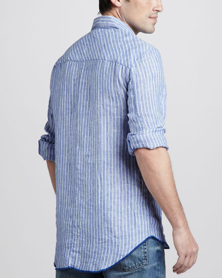 Striped Two-Pocket Shirt, Navy/Light Blue