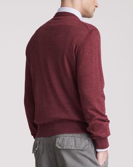 Fine-Gauge Crew Sweater, Granata