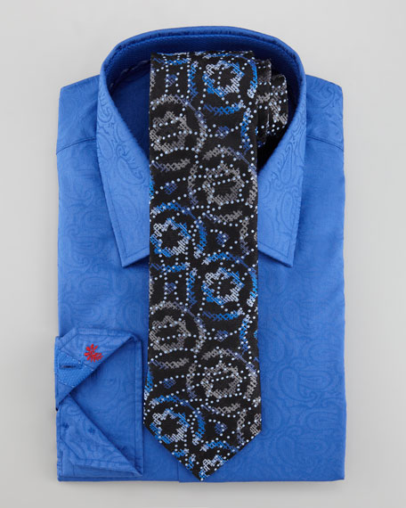 Ricky Paisley Dress Shirt, Navy