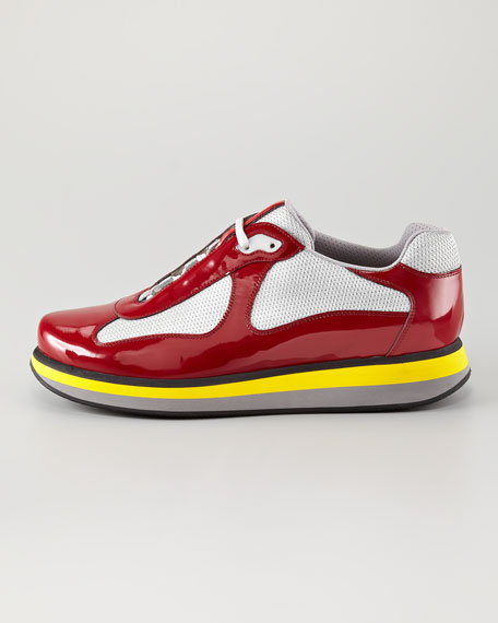 Colored-Sole Low-Top Sneaker, Red
