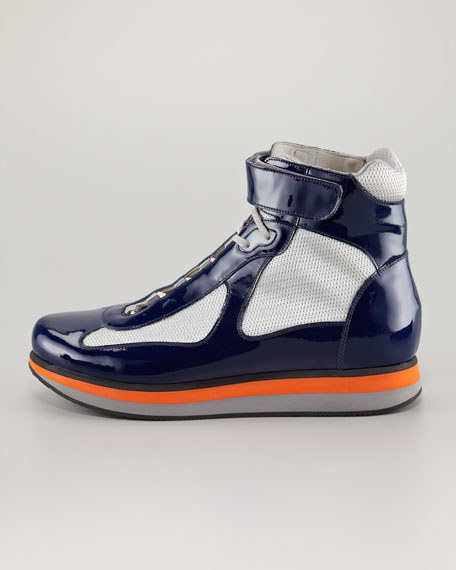 Colored-Sole Hi-Top Sneaker