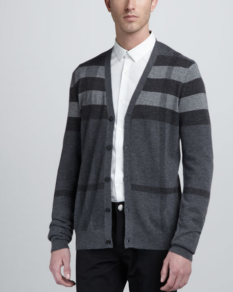 Check Cardigan, Dark Charcoal