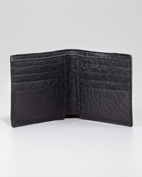Leather Woven Edge Bi-Fold Wallet, Black