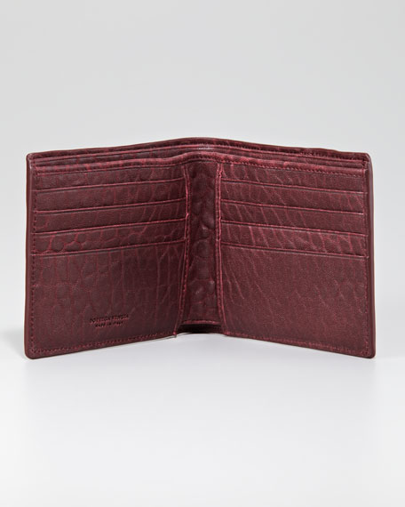 Leather Woven Edge Bi-Fold Wallet, Maroon