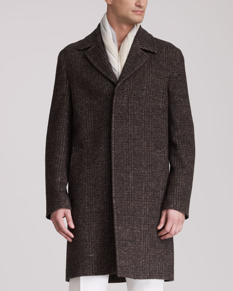 Glen Plaid Topcoat, Brown