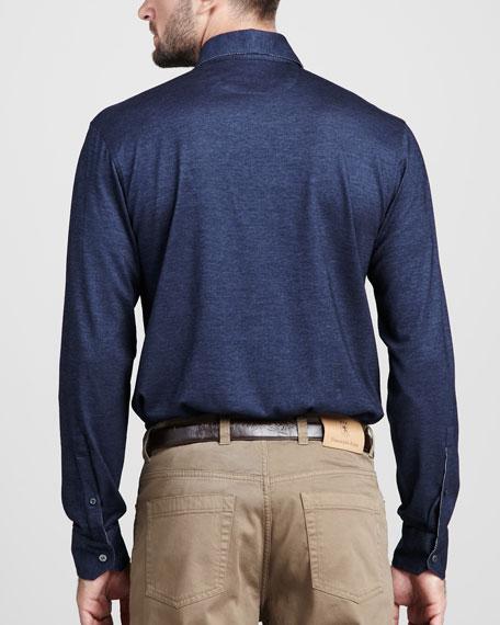 Birdseye Button-Down Shirt, Navy
