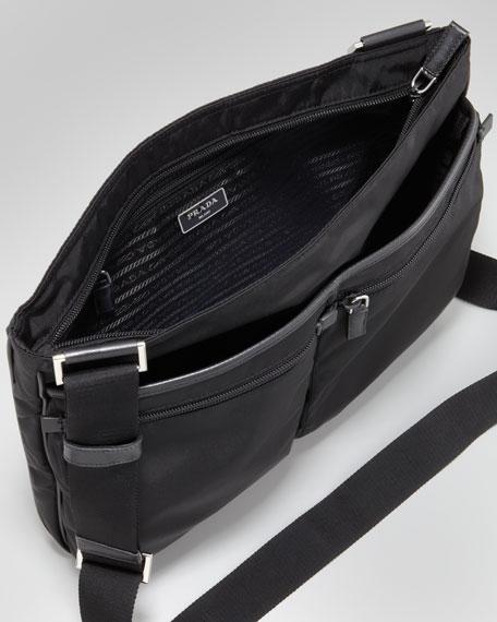 Zip-Top Nylon Messenger Bag