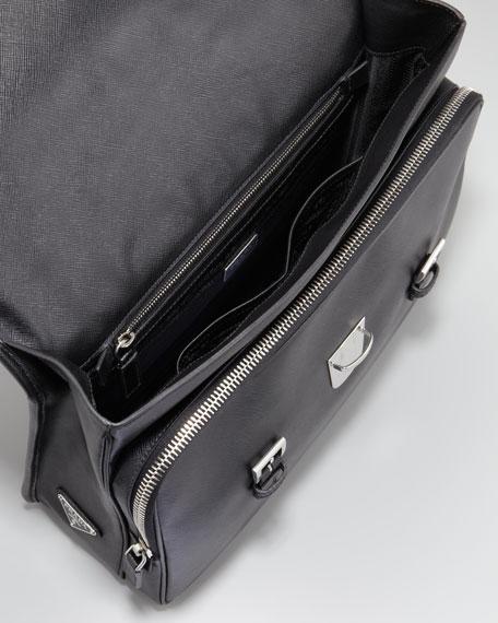 Buckled Saffiano Briefcase