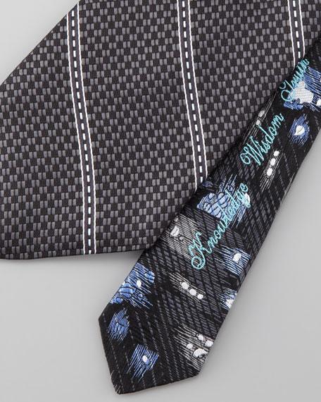 Textured-Stripe Silk Tie, Black