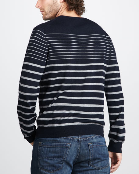 Striped Merino Sweater, Navy/Gray