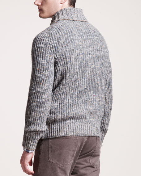 Shawl-Collar Cashmere Sweater, Green/Blue