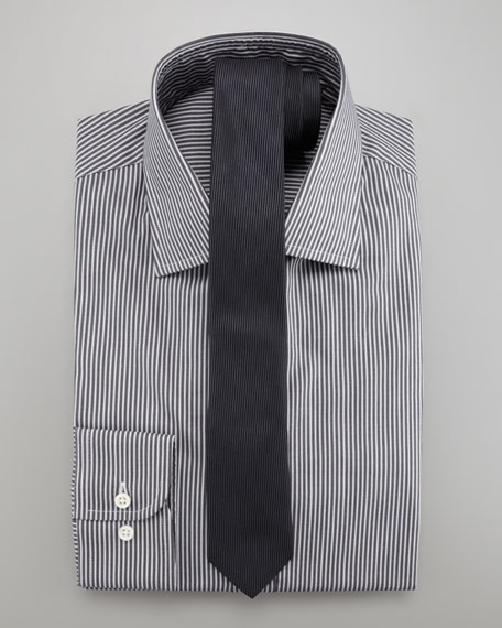 Striped Dress Shirt, Charcoal/White