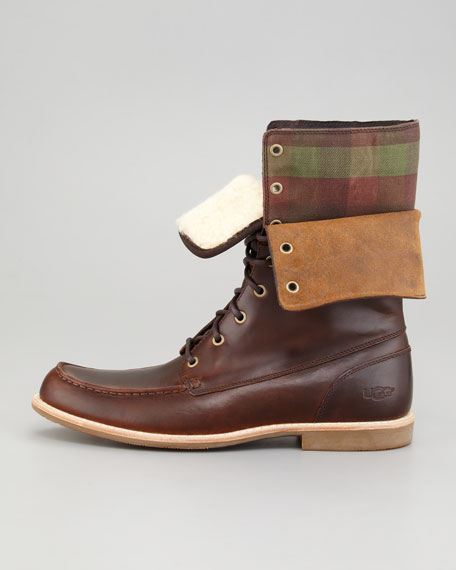 Via Maggio Leather/Plaid Fold-Over Boot