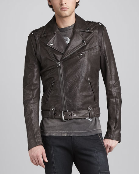 Leather Biker Jacket, Dark Gray