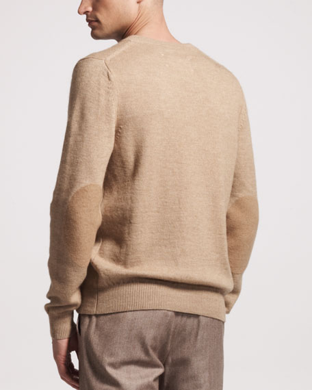 V-Neck Sweater With Elbow Patch
