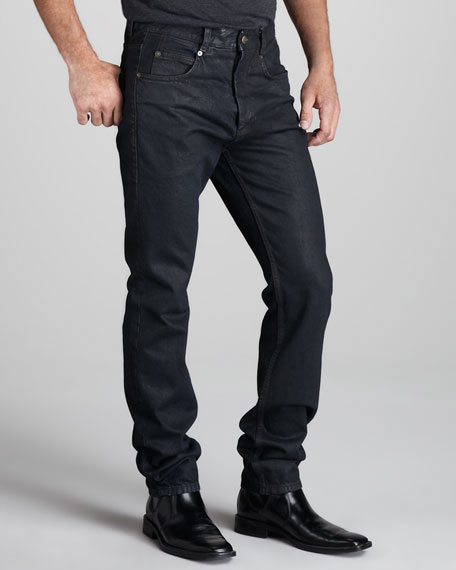 Coated Skinny Jeans, Black