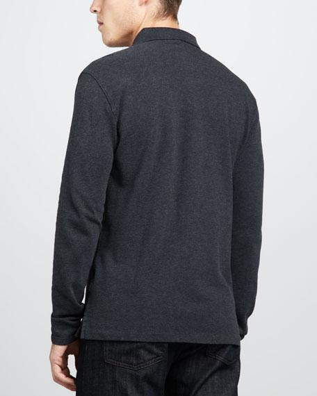 Check-Placket Jersey Polo, Dark Charcoal Melange