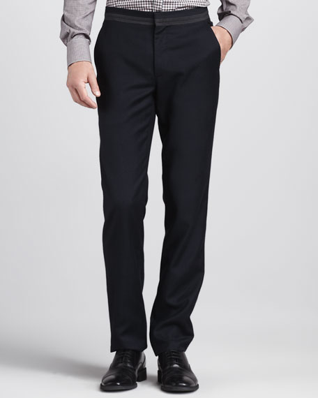 Grosgrain-Waist Pants, Navy