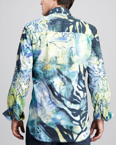 Abstract-Print Sport Shirt, Lime/Blue