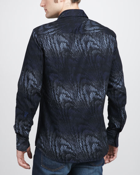 Wave-Pattern Sport Shirt
